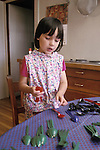 Berkeley CA Girl, 4 1/2, showing ability to sort utensils by shape and color  MR.