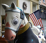 "A view of ""Rocko the Rocket Horse"" created by artist, Remington Masters, one of the ""Rockin' Around Saugerties"" theme Statues on display throughout the Village of Saugerties, NY, on Sunday, June 4, 2017. Photo by Jim Peppler. Copyright/Jim Peppler-2017."