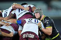 Dan Lydiate of the Ospreys in action at a scrum. European Rugby Champions Cup match, between the Ospreys and Bordeaux Begles on December 12, 2015 at the Liberty Stadium in Swansea, Wales. Photo by: Patrick Khachfe / JMP