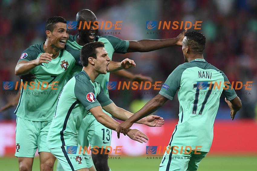 Nani celebrates scoring with team mates Esultanza Gol <br /> Lyon 06-07-2016 Stade de Lyon Football Euro2016 Portugal - Wales / Portogallo - Galles Semi-finals / Semifinali <br /> Foto Matteo Gribaudi  / Image / Insidefoto