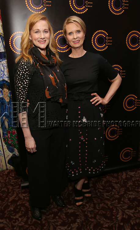 Laura Linney and Cynthia Nixon attend the 67th Annual Outer Critics Circle Theatre Awards at Sardi's on May 25, 2017 in New York City.