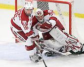 Alex Fallstrom (Harvard - 16), Ryan Carroll (Harvard - 35) - The Harvard University Crimson defeated the Dartmouth College Big Green 4-1 (EN) on Monday, January 18, 2010, at Bright Hockey Center in Cambridge, Massachusetts.