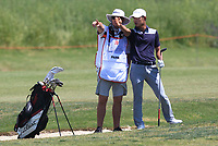 Eunshin Park (KOR) and Kenneth Quillinan (caddy) on the 9th fairway during Round 2 of the Rocco Forte Sicilian Open 2018 on Friday 11th May 2018.<br /> Picture:  Thos Caffrey / www.golffile.ie<br /> <br /> All photo usage must carry mandatory copyright credit (&copy; Golffile | Thos Caffrey)