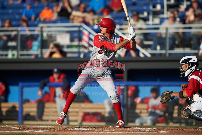 Williamsport Crosscutters outfielder Mark Laird (7) at bat during a game against the Batavia Muckdogs on July 15, 2015 at Dwyer Stadium in Batavia, New York.  Williamsport defeated Batavia 6-5.  (Mike Janes/Four Seam Images)