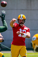 Green Bay Packers quarterback Aaron Rodgers (12) during an OTA on June 1, 2017 at Clark Hinkle Field in Green Bay, Wisconsin. (Brad Krause/Krause Sports Photography)
