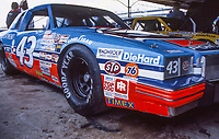 HAMPTON, GA - NOV 3:  The #43 STP Pontiac of Richard Petty is shown in the garage before the Atlanta Journal 500 NASCAR Winston Cup race at Atlanta Motor Speedway, November 3, 1985. (Photo by Brian Cleary/www.bcpix.com)