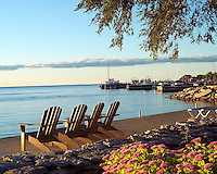 Beach chairs on a lazy afternoon in Ephraim,Door County, Wisconsin