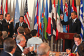 United States President Barack Obama and United Nations Secretary General Ban Ki-Moon toast one-another at the Delegates Luncheon at the 68th United Nations General Assembly in New York, New York on Tuesday, September 24, 2013.<br /> Credit: Allan Tannenbaum / Pool via CNP