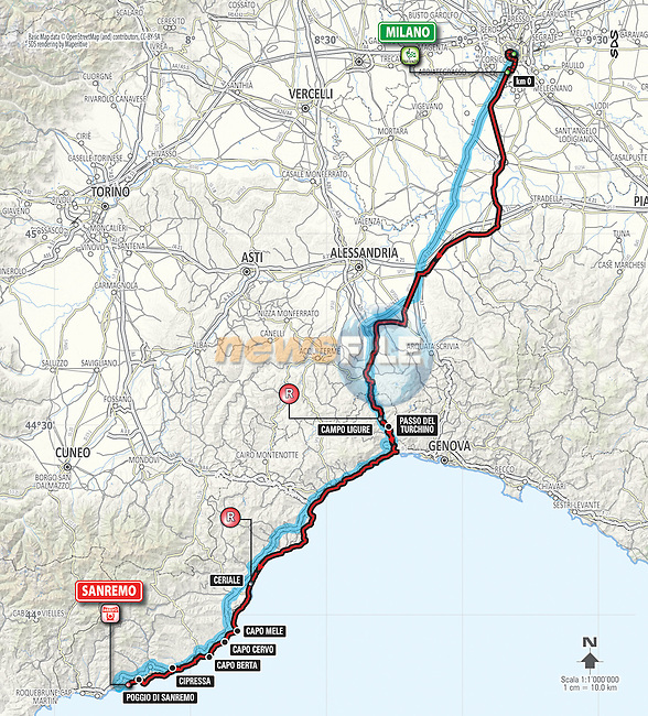 Stage map for the 2016 Milan-San Remo cycle race, running 291km from Milan to San Remo, Italy. 19th March 2016.<br /> Picture: Eoin Clarke | Newsfile<br /> <br /> <br /> All photos usage must carry mandatory copyright credit (&copy; Newsfile | Eoin Clarke)