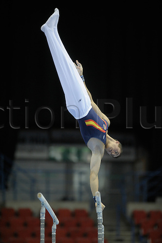 20.4.10 European Gymnastics Championships.Birmingham England.Junior Podium Training.Spanish team train on parallel bars...
