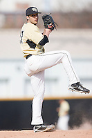 Relief pitcher Niko Spezial #27 of the Wake Forest Demon Deacons in action versus the Xavier Musketeers at Wake Forest Baseball Park March 7, 2010, in Winston-Salem, North Carolina.  Photo by Brian Westerholt / Four Seam Images