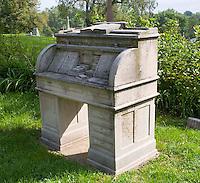Roll top desk gravestone at a cemetery in Nebraska City, NE