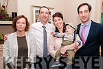 Baby Arlo Thornton and his parents Declan & Jill Thornton and god parents Margaret Lawlor & Alan Chute who was christened in St Michael's Church, Lixnaw  by Fr. Mossie Brick, PP, Lixnaw on Saturday last and afterwards at Behans Horseshoe Bar & Restaurant, Listowel.