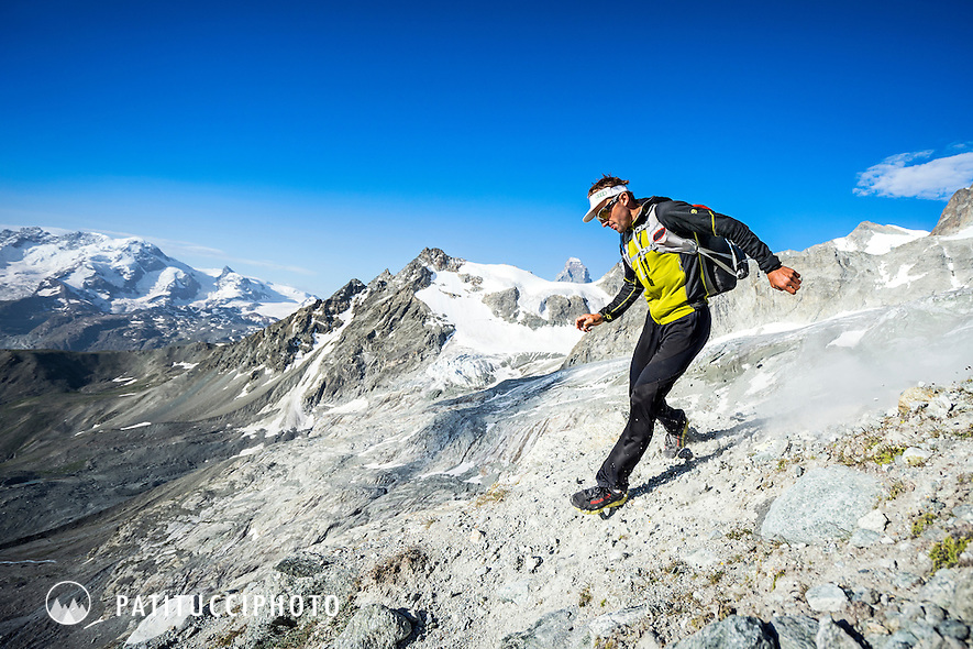 Ueli Steck running down to Zermatt after peak 41 of his 82 Summit project. The Zinalrothorn above Zermatt marked the halfway point of his goal of all 82 4000 meter peaks done entirely under his own power.