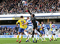 Queens Park Rangers' goalkeeper  Matt Ingram punches clear<br /> <br /> Photographer Andrew Kearns/CameraSport<br /> <br /> The Emirates FA Cup Third Round - Queens Park Rangers v Leeds United - Sunday 6th January 2019 - Loftus Road - London<br />  <br /> World Copyright &copy; 2019 CameraSport. All rights reserved. 43 Linden Ave. Countesthorpe. Leicester. England. LE8 5PG - Tel: +44 (0) 116 277 4147 - admin@camerasport.com - www.camerasport.com