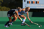 09 October 2015: North Carolina's Nina Notman (GER) (10) blocks a pass by Longwood's Lorissa Morton (1). The University of North Carolina Tar Heels hosted the Longwood University Lancers at Francis E. Henry Stadium in Chapel Hill, North Carolina in a 2015 NCAA Division I Field Hockey match. UNC won the game 8-1.