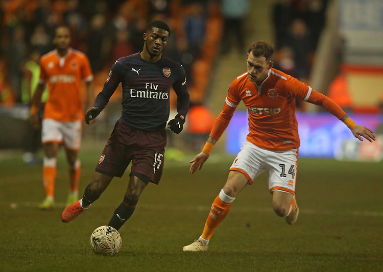 Arsenal's Ainsley Maitland-Niles shields the ball from Blackpool's Harry Pritchard<br /> <br /> Photographer Stephen White/CameraSport<br /> <br /> Emirates FA Cup Third Round - Blackpool v Arsenal - Saturday 5th January 2019 - Bloomfield Road - Blackpool<br />  <br /> World Copyright © 2019 CameraSport. All rights reserved. 43 Linden Ave. Countesthorpe. Leicester. England. LE8 5PG - Tel: +44 (0) 116 277 4147 - admin@camerasport.com - www.camerasport.com