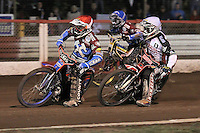 Heat 6 re-run: Davey Watt (red), Kim Nilsson (blue) and Krzysztof Buczkowski - Lakeside Hammers vs Peterborough Panthers - Sky Sports Elite League Speedway at Arena Essex Raceway, Purfleet - 14/09/12 - MANDATORY CREDIT: Gavin Ellis/TGSPHOTO - Self billing applies where appropriate - 0845 094 6026 - contact@tgsphoto.co.uk - NO UNPAID USE.