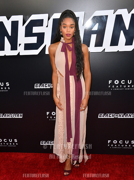 "Laura Harrier at the Los Angeles premiere of ""BlacKkKlansman"" at the Academy's Samuel Goldwyn Theatre, Beverly Hills, USA 08 Aug. 2018<br /> Picture: Paul Smith/Featureflash/SilverHub 0208 004 5359 sales@silverhubmedia.com"