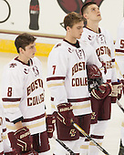 Travis Jeke (BC - 8), Noah Hanifin (BC - 7), Steve Santini (BC - 6) - The Boston College Eagles defeated the visiting University of New Brunswick Varsity Reds 6-4 in an exhibition game on Saturday, October 4, 2014, at Kelley Rink in Conte Forum in Chestnut Hill, Massachusetts.
