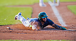 16 July 2017: Vermont Lake Monsters outfielder Logan Farrar, a 36th round draft pick for the Oakland Athletics, slides home safely to score Vermont's 4th run in the 6th inning against the Auburn Doubledays at Centennial Field in Burlington, Vermont. The Monsters defeated the Doubledays 6-3 in NY Penn League action. Mandatory Credit: Ed Wolfstein Photo *** RAW (NEF) Image File Available ***