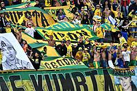 BOGOTA - COLOMBIA - 15 - 04 - 2017: Hinchas de Atletico Bucaramanga, animan a su equipo, durante partido de la fecha 13 entre Independiente Santa Fe y Atletico Bucaramanga, por la Liga Aguila I-2017, en el estadio Nemesio Camacho El Campin de la ciudad de Bogota. / Fans of Atletico Bucaramanga, cheer for their team during a match of the date 13 between Independiente Santa Fe and Atletico Bucaramanga, for the Liga Aguila I -2017 at the Nemesio Camacho El Campin Stadium in Bogota city, Photo: VizzorImage / Luis Ramirez / Staff.