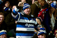 A Bath fan in the crowd shows his support. Aviva Premiership match, between Bath Rugby and Newcastle Falcons on November 15, 2014 at the Recreation Ground in Bath, England. Photo by: Clare Green for Onside Images