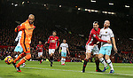Zlatan Ibrahimovic of Manchester United scores the equalisinjg goal past Darren Randolph of West Ham United during the Premier League match at the Old Trafford Stadium, Manchester. Picture date: November 27th, 2016. Pic Simon Bellis/Sportimage