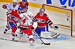 21 December 2008: Carolina Hurricanes' left wing forward Sergei Samsonov from Russia gets in close on Montreal Canadiens' goaltender Carey Price in the first period at the Bell Centre in Montreal, Quebec, Canada. The Hurricanes defeated the Canadiens 3-2 in overtime. ***** Editorial Sales Only ***** Mandatory Photo Credit: Ed Wolfstein Photo