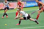 The Hague, Netherlands, June 10: Nina Hasselmann #10 of Germany tries to score during the field hockey group match (Women - Group B) between USA and Germany on June 10, 2014 during the World Cup 2014 at Kyocera Stadium in The Hague, Netherlands. Final score 1-3 (0-0) (Photo by Dirk Markgraf / www.265-images.com) *** Local caption ***