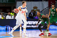 Real Madrid's player Luka Doncic and Unicaja Malaga's player Jamar Smith during match of Liga Endesa at Barclaycard Center in Madrid. September 30, Spain. 2016. (ALTERPHOTOS/BorjaB.Hojas) /NORTEPHOTO.COM