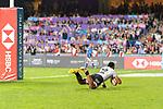 Amenoni Nasilasila of Fiji jumps while scores a goal during the HSBC Hong Kong Sevens 2018 match between Fiji and Kenya on 08 April 2018, in Hong Kong, Hong Kong. Photo by Marcio Rodrigo Machado / Power Sport Images