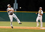 WATERBURY, CT-080317JS13-- Watertown's Tone Patane (28) throws to first for the out during their opening round game against Bourne Mariners of Cape Cod in the Stan Musial East Coast World Series Thursday at Municipal Stadium in Waterbury. <br /> Jim Shannon Republican-American