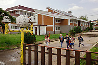 """Serbia. Vranje is a city and the administrative center of the Pčinja District in southern Serbia. «Svetozar Markovic » Elementary School. Students on their way home. The Pestalozzi Children's Foundation (Stiftung Kinderdorf Pestalozzi) is advocating access to high quality education for underprivileged children. It supports in Vranje a project called"""" Education for child rights"""". 17.4.2018 © 2018 Didier Ruef for the Pestalozzi Children's Foundation"""