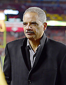 United States Attorney General Eric Holder on the sidelines prior to the final game of the 2012 NFL game pitting the Dallas Cowboys against the Washington Redskins at FedEx Field in Landover, Maryland on Sunday, December 30, 2012..Credit: Ron Sachs / CNP.(RESTRICTION: NO New York or New Jersey Newspapers or newspapers within a 75 mile radius of New York City)