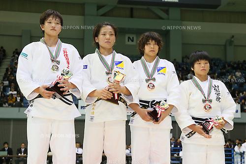 (L-R) Chizuru Arai, Haruka Tachimoto, Haruka Yasumatsu, Kazuki Osanai, <br /> NOVEMBER 8, 2014 - Judo : <br /> Kodokan Cup 2014 <br /> Women's -70kg victory ceremony<br /> at Chiba Port Arena, Chiba, Japan. <br /> (Photo by Yohei Osada/AFLO SPORT) [1156]