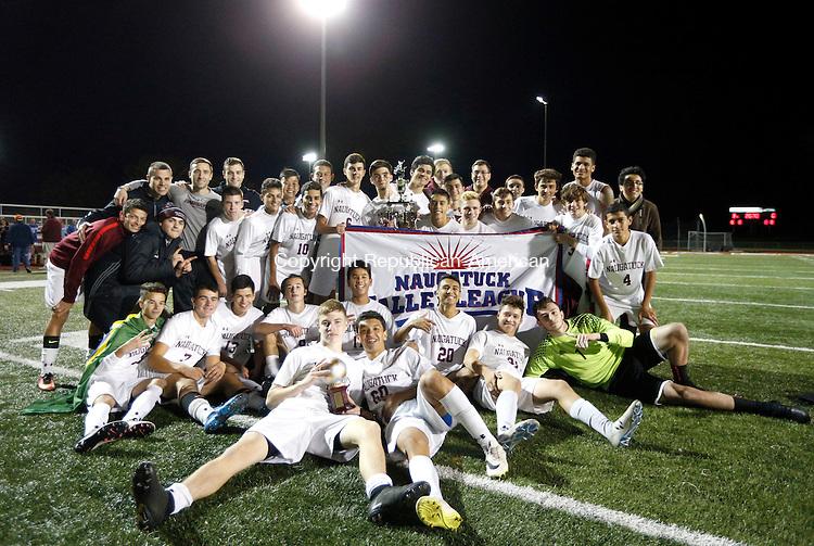 Naugatuck, CT- 03 November 2016-110316CM06- Naugatuck boys soccer team celebrate following their 3-0 win over Oxford in the NVL final on Thursday. Christopher Massa Republican-American