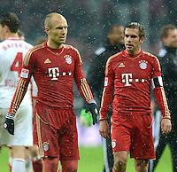 FUSSBALL   1. BUNDESLIGA  SAISON 2012/2013   9. Spieltag FC Bayern Muenchen - Bayer 04 Leverkusen    28.10.2012 Arjen Robben und Philipp Lahm (v. li., FC Bayern Muenchen)