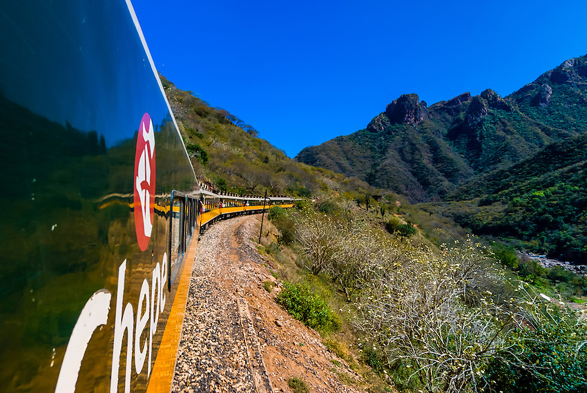 The CHEPE (Chihuahua al Pacifico Railroad) train traveling through the Copper Canyon, Mexico