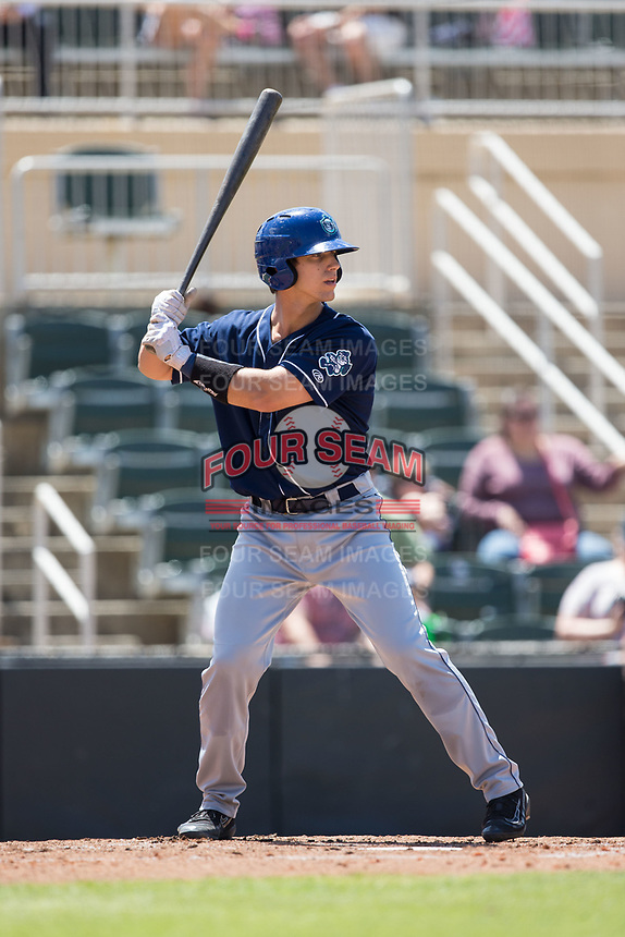 Campbell Wear (35) of the Asheville Tourists at bat against the Kannapolis Intimidators at Kannapolis Intimidators Stadium on May 7, 2017 in Kannapolis, North Carolina.  The Tourists defeated the Intimidators 4-1.  (Brian Westerholt/Four Seam Images)