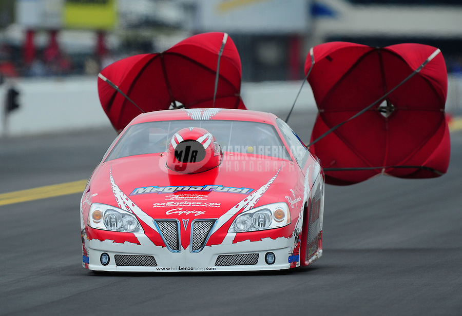 Sept. 17, 2011; Concord, NC, USA: NHRA pro stock driver Bob Benza during qualifying for the O'Reilly Auto Parts Nationals at zMax Dragway. Mandatory Credit: Mark J. Rebilas-