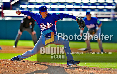 3 March 2009: Italy's pitcher Cody Cillo in action during an MLB Spring Training exhibition game against the Washington Nationals at Space Coast Stadium in Viera, Florida. The Nationals defeated Italy 9-6. Mandatory Photo Credit: Ed Wolfstein Photo