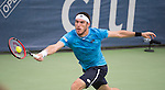 Leonardo Mayer (ARG) loses to Kei Nishikori (JPN) 6-4, 6-4 at the Citi Open in Washington, DC,  on August 6, 2015.