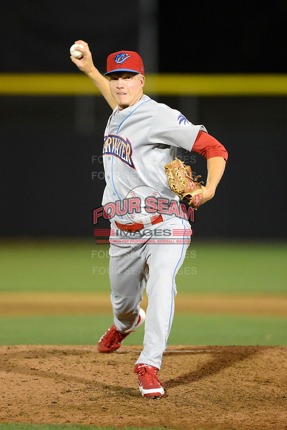 Clearwater Threshers pitcher Mike Nesseth #47 during a game against the Dunedin Blue Jays at Florida Auto Exchange Stadium on April 4, 2013 in Dunedin, Florida.  Dunedin defeated Clearwater 4-2.  (Mike Janes/Four Seam Images)