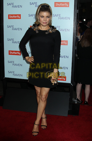 """Stacy Ferguson Duhamel aka Fergie of Black Eyes Peas.""""Safe Haven"""" Los Angeles Premiere held at the TCL Chinese Theatre, Hollywood, California, USA..February 5th, 2013.full length dress clutch bag black 60s hairstyle hair bow ribbon beehive beads beaded embellished jewel encrusted collar clutch bag open toe ankle strap shoes hand on hip.CAP/ADM/RE.©Russ Elliot/AdMedia/Capital Pictures."""