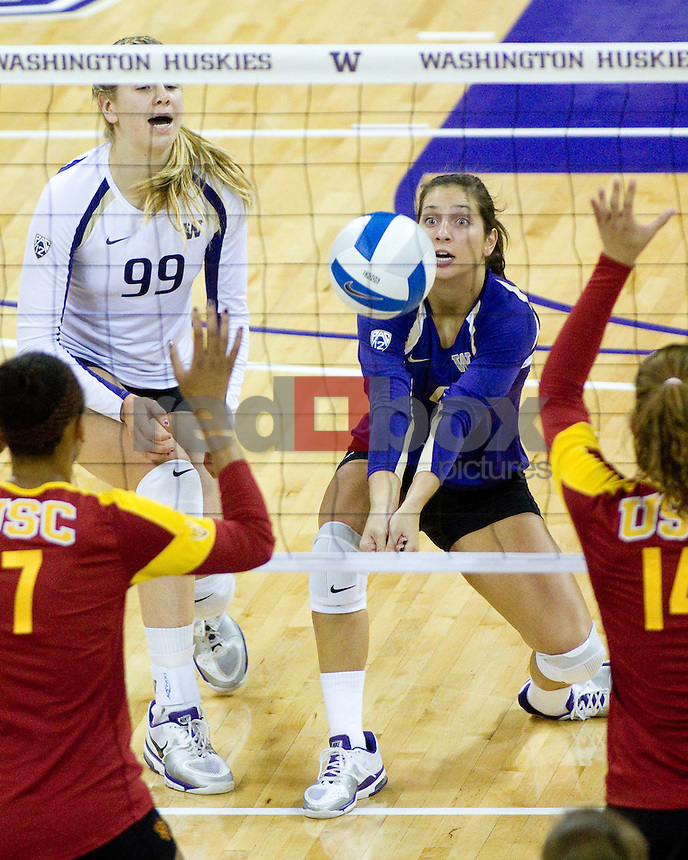 Summer Ross, Jenna Orlandini.The University of Washington women's volleyball team plays USC Trojans at Alaska Airlines Arena at the University of Washington in Seattle on Friday September 16, 2011. (Photography By Scott Eklund/Red Box Pictures)