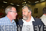 Bobby O'Connell consoles Johnny O'Connor who lost his seat at the Kerry County Council Killorglin area election count in the Aura Sports Centre in Killarney on Saturday