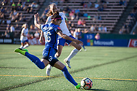 Seattle, WA - Saturday July 15, 2017: Nahomi Kawasumi, Tiffany Weimer during a regular season National Women's Soccer League (NWSL) match between the Seattle Reign FC and the Boston Breakers at Memorial Stadium.
