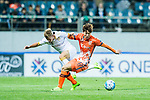 Jeju United Forward Ahn Hyunbeom (R) fights for the ball with Adelaide United Midfielder Riley Patrick Mcgree (L) during the AFC Champions League 2017 Group Stage - Group H match between Jeju United FC (KOR) vs Adelaide United (AUS) at the Jeju World Cup Stadium on 11 April 2017 in Jeju, South Korea. Photo by Marcio Rodrigo Machado / Power Sport Images
