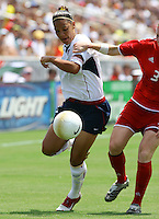 Natasha Kai (USA) vs Melanie Booth (CAN)during USWNT vs Canada match at SAS Stadium in Cary, NC.